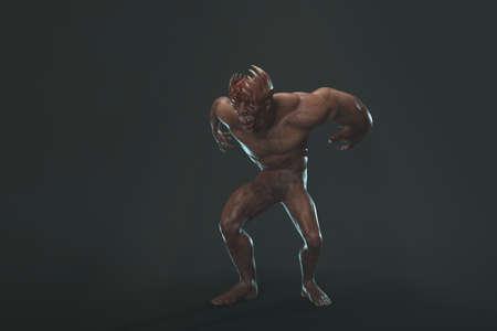 Fantasy huge character asymmetric Monster - 3d render on dark background Stock Photo