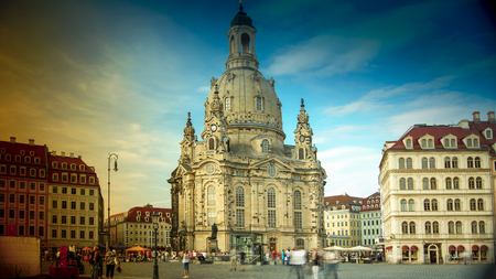 DRESDEN, GERMANY circa 2016: Street views in Dresden historic center with Frauenkirche Cathedral church. Dresden is the capital city of the Free State of Saxony. Editorial