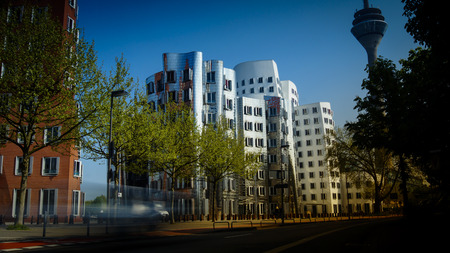 DUESSELDORF, GERMANY - circa 2016: The new Medienafen is a redevelopment area in the former docklands and harbour with buildings designed by Steven Holl, David Chipperfield and Frank O Gehry