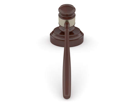 Woodenn gavel and soundboard on a white background  photo