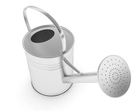 sliver: Sliver Metal Watering Can  Is Isolated On a White Background Stock Photo