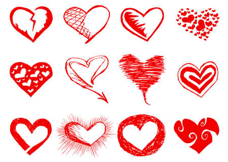 Vector red love hearts set  Hand drawing   Vector