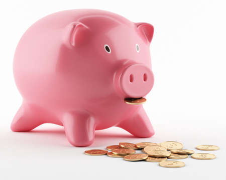 Pink ceramic piggy bank isolated on white photo