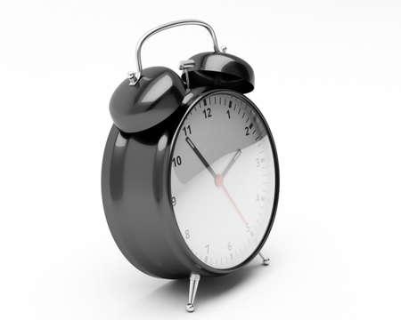 baclground: Black Retro Style Alarm Clock Isolated on White Baclground.