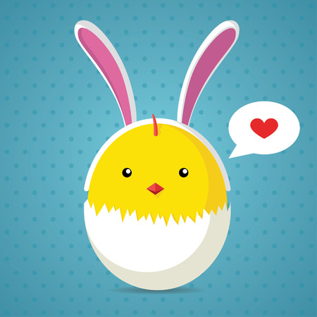 broken egg: Easter greeting card with chicken in broken egg and rabbit ears. Vector Illustration Illustration