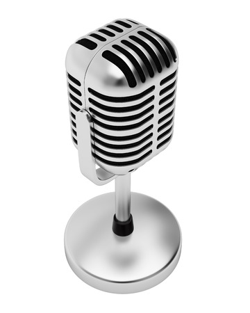 Retro silver microphone isolated on white background. photo