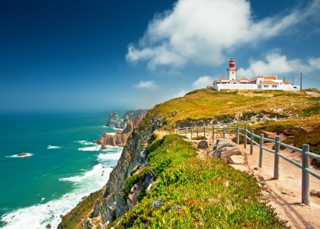 Nice view of a lighthouse with the ocean in Portugal