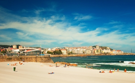 Nice beach with hotels in the city in Spain  Stock Photo
