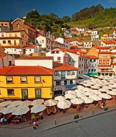 Colorful houses in the old town at summer