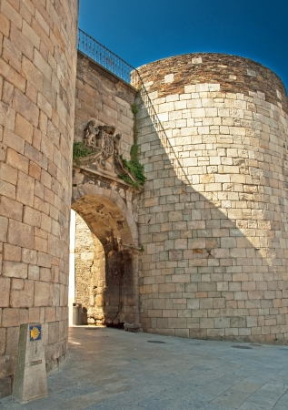 Detail of the famous roman wall of Lugo, Spain  Stock Photo