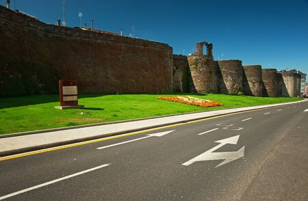 Detail of the famous roman wall of Lugo, Spain  Editorial