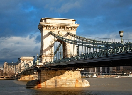 Nice view on the famous Chain Bridge of Budapest, Hungary  Stock Photo