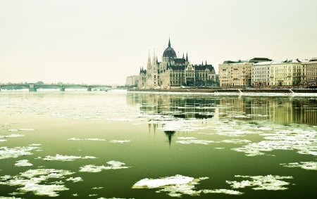View on Budapest in winter photo