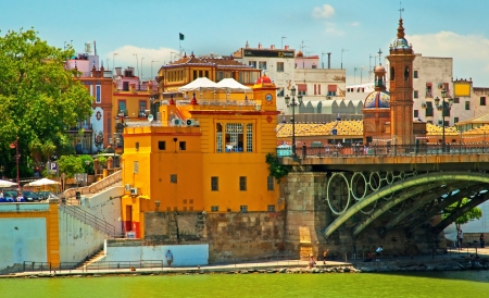Triana Bridge, the oldest bridge in Seville, Spain