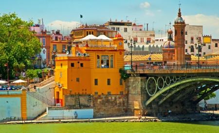 Triana Bridge, the oldest bridge in Seville, Spain