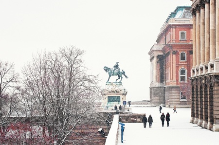 The famous palace of Budapest in Hungary at winter with snow  Stock Photo