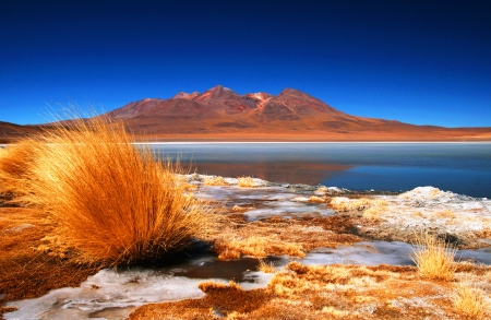Laguna with the reflection of the mountain, Bolivia   Stock Photo