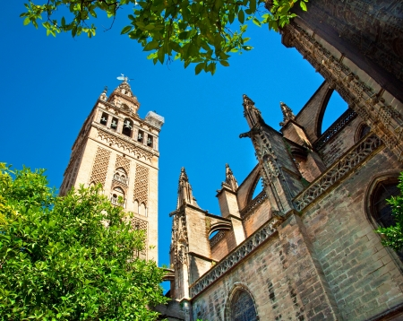 Famous Giralda tower in Spain in Seville  photo