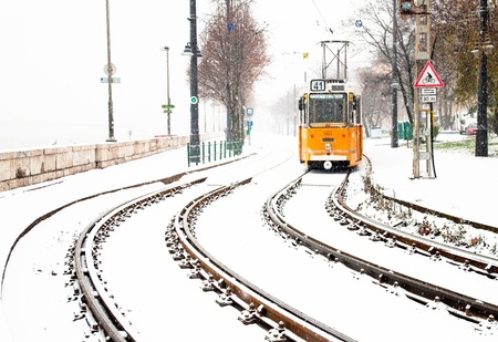Tram and tramlines in Budapest at winter with snow
