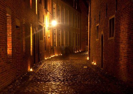 leuven: Great Beguinage at night Leuven, Louvain, Belgium Stock Photo