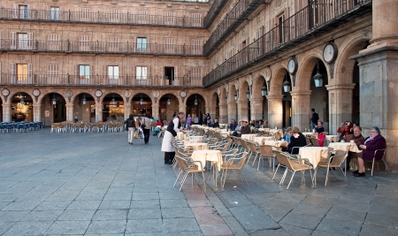 Restaurant in the square in Spain  Editorial