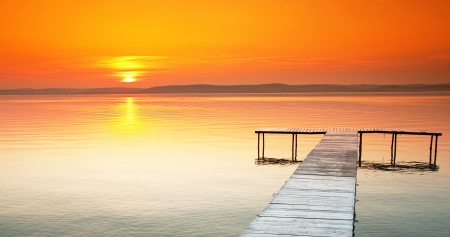 Lake Balaton with a very nice sunset at summer