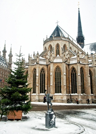 leuven: City of Leuven, Belgium in winter Stock Photo