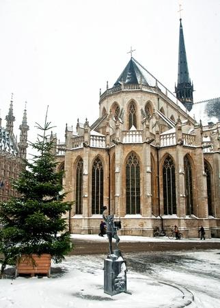 leuven: City of Leuven, Belgium in winter Stock Photo