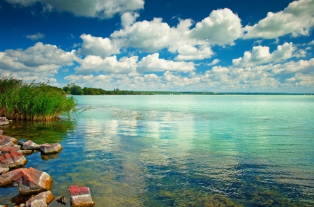 shoreline: Lago Balaton en Hungr�a con las nubes agradables en verano