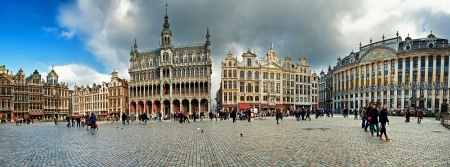 Brussels grand place building with gold ornate  Editorial