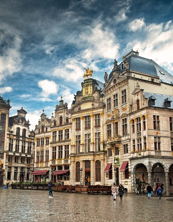 Brussels grand place building with gold ornate