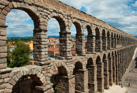 The famous ancient aqueduct in Segovia, Castilla y Leon, Spain Editorial
