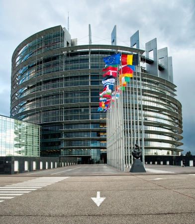 european: Exterior of the European Parliament of Strasbourg, France Editorial