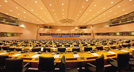 parliamentary: Interior of the European Parliament