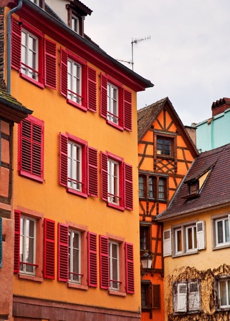 Typical houses in the old town of Strasbourg, France  photo