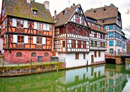 Nice canal with houses in Strasbourg, France