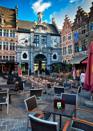 Nice houses in the old town of Ghent, Belgium Editorial