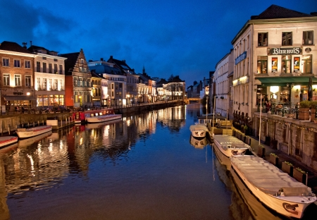 Nice houses in the old town of Ghent in the evening, Belgium