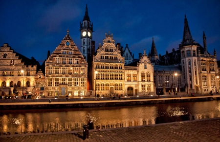 Nice houses in the old town of Ghent in the evening, Belgium  photo