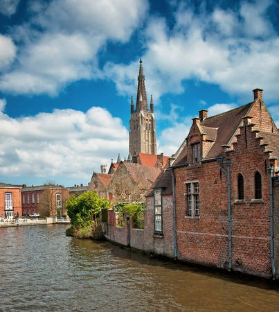 Houses along the canals of Brugge or Bruges, Belgium photo