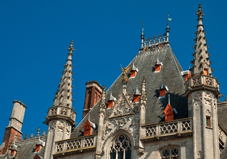 Tower of the Provinciaal Hof  Provincial Court  on the Market Square in Bruges, Belgium