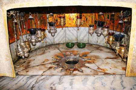 A silver star marks the traditional site of the birth of Jesus in Bethlehems Church of the Nativity, Bethlehem, Israel