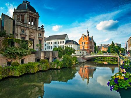 Mooie huizen in de oude binnenstad van Gent, België Stockfoto