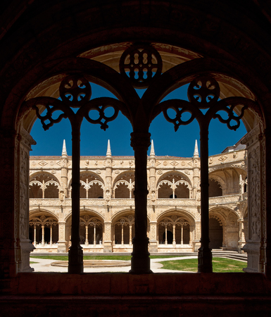 The ancient Mosteiro dos Jeronimos of Lisbon in Portugal Stock Photo