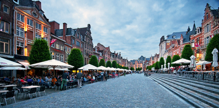 Row of beautiful buildings on Oude Markt (Old Square), the longest bar in the world in Leuven, Belgium