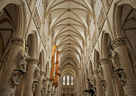 Interior of St. Michael and St. Gudula Cathedral in Brussels, Belgium