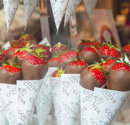 Godiva macro chocolate covered strawberries on May 31, 2015 in Brussels, Belgium