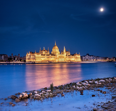 The Hungarian Parliament in dusk
