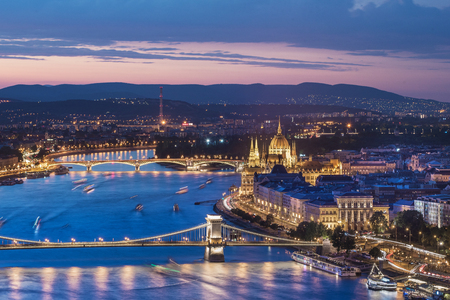 Sunset over the Chain Bridge and the Hungarian Parliament in Budapest, Hungary