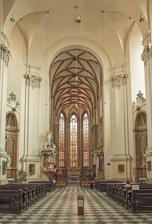 Interior of Cathedral of St. Peter and Paul in Brno, Czech Republic
